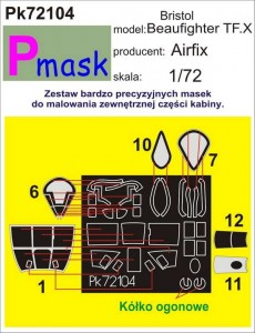 1:72 Maski do BEAUFIGHTER TF.X [Airfix] - Pmask Pk72104