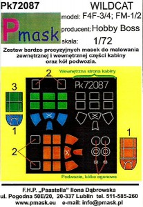1:72 Maski do WILDCAT [Hobby Boss] - Pmask Pk72087